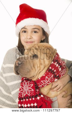 Cute Brunette Girl Hugging A Shar Pei Dog