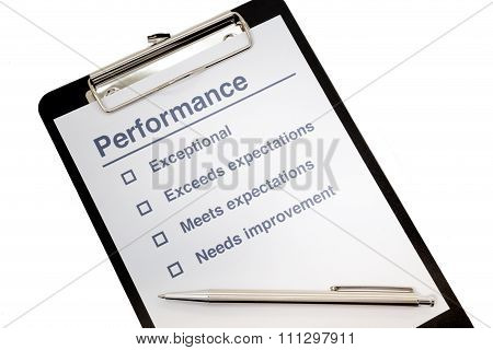 Performance Evaluation Clipboard