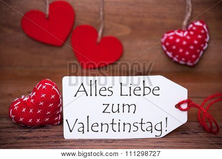 One Label With Romantic Hearts Decoration, Valentinstag Means Valentines Day