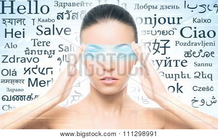 Woman with futuristic way of learning languages over cyan background.