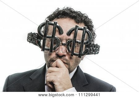 Stupid Crazy businessman with dollar glasses