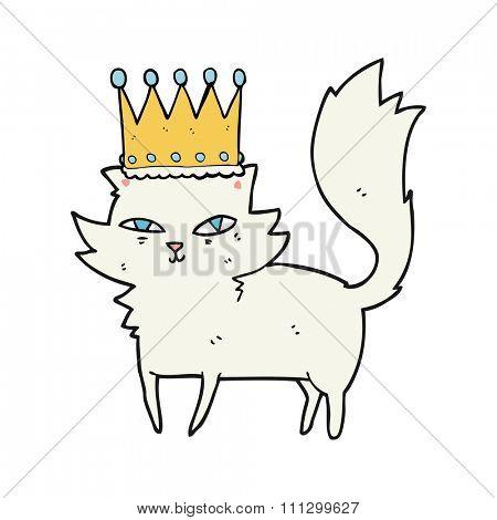freehand drawn cartoon posh cat