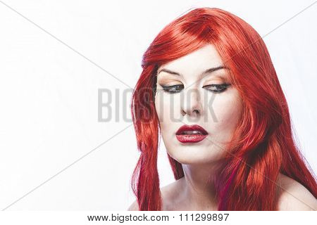 girl with big red hair, nineteenth century style romance
