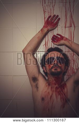 problem naked man with red gas mask, blood, despair and suicide