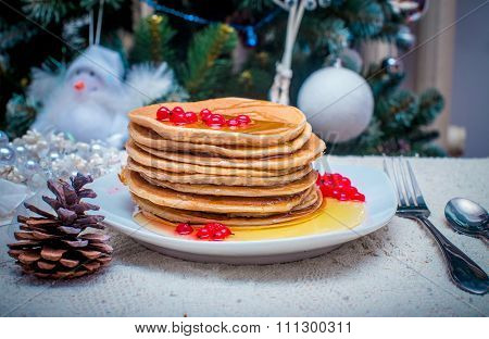 Stack Of Fresh Golden Pancakes Or Flapjacks Topped