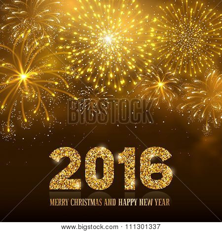 Festive firework bursting in various shapes and golden colors sparkling against black night background. Lettering 2016 with golden glitter. Merry Christmas and Happy New Year. Vector illustration.