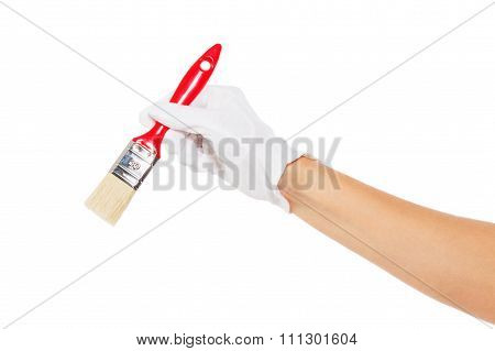 The Hand In White Glove With Red Paintbrush