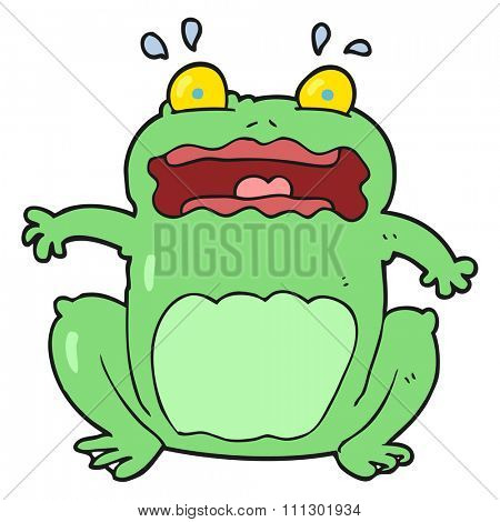 freehand drawn cartoon funny frightened frog