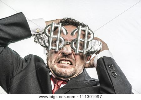 Fool Crazy businessman with dollar glasses