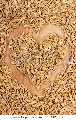 Heart Of Oat Grains, Healthy Nutrition, Symbol Of Love