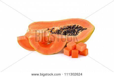 Ripe Papaya With Seed On White Background