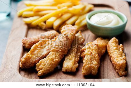 Crispy Fish and Chips, Tartar Sauce. British food