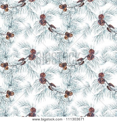 Watercolor Christmas Seamless Pattern with Tree Branches