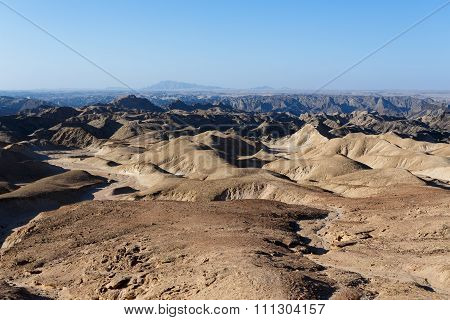 Panorama Of Fantrastic Namibia Moonscape