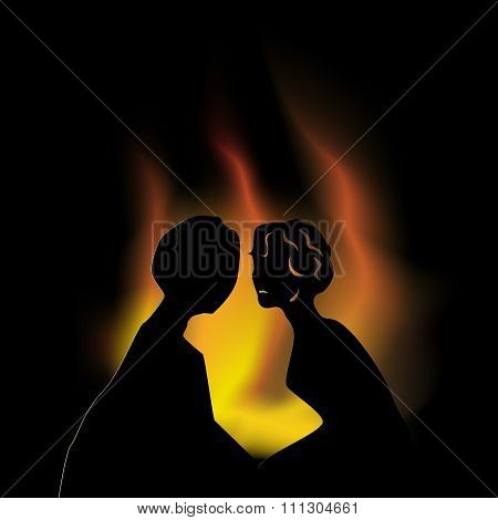 Kiss on a background of a fireplace