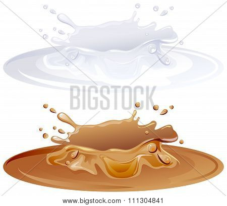 Hot caramel puddle. White milk splashes