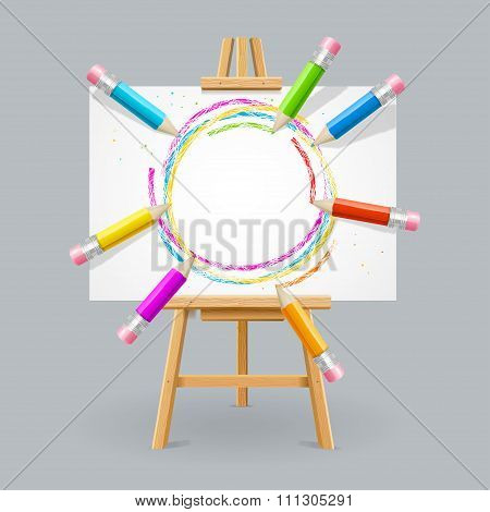 Wooden Easel and Pencil Absrtact Background. Vector