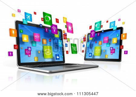 Icons Flying Around Digital Tablet Pc And Laptop