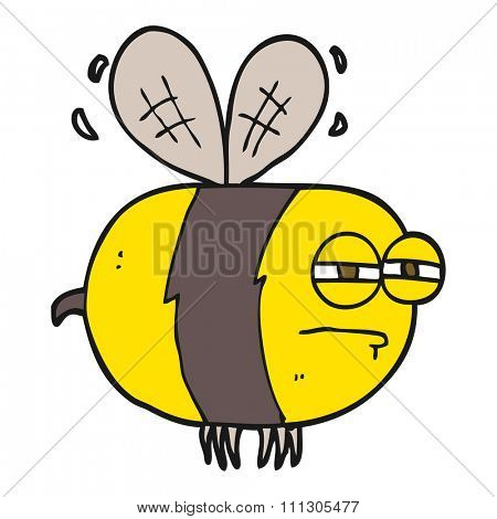 freehand drawn cartoon unhappy bee