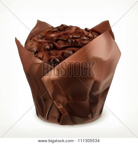 Chocolate muffin, vector icon