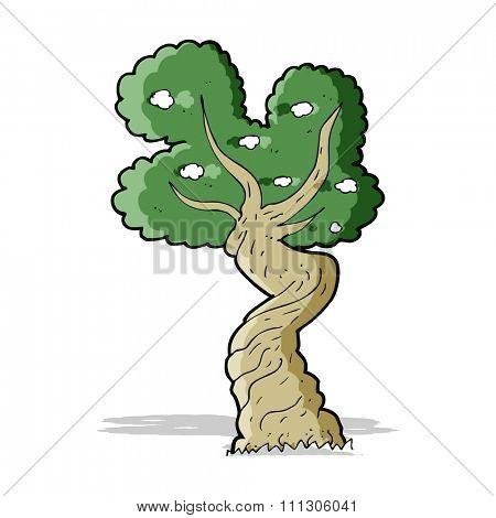 cartoon twisted old tree
