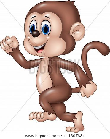 Cute monkey running isolated on white background