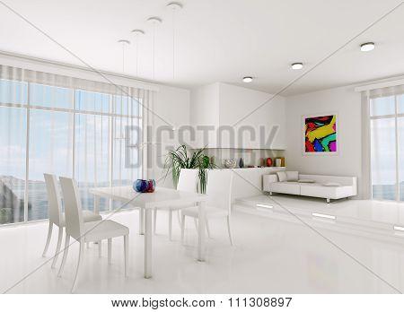 White Living Room 3D Render