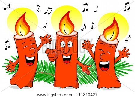 Cartoon Christmas Candles Singing A Christmas Carol
