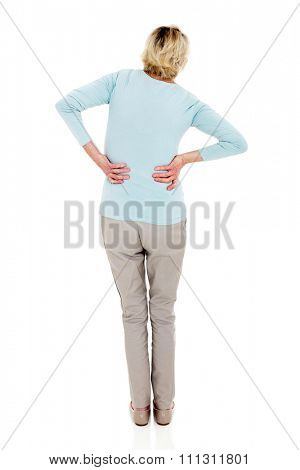 back view of senior woman having backache isolated on white background