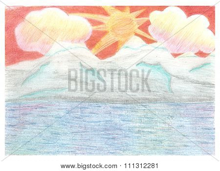 Romantic landscape, sunset, mountains rocks and sea, drawn by color pencils