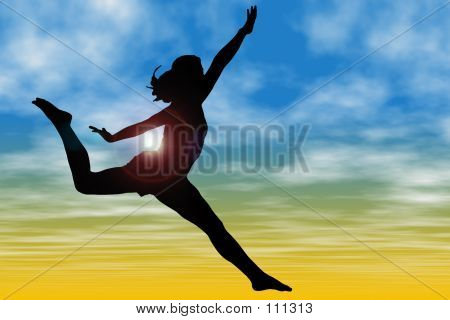 Silhouette Of Woman Jumping Against Sky