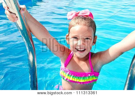 Happy Little Girl In Swimming Pool