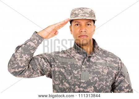 close up portrait of military soldier saluting
