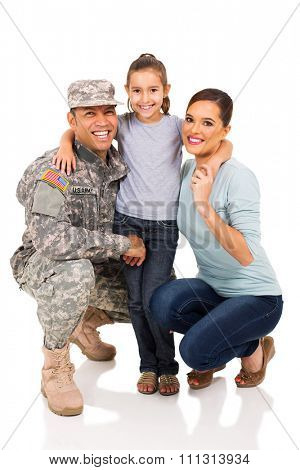 portrait of military man and family
