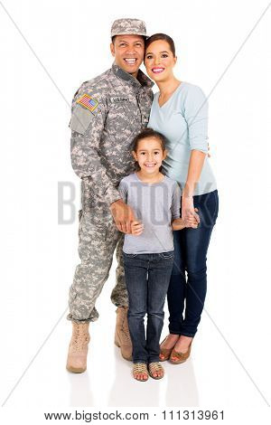 smiling military family standing together on white background