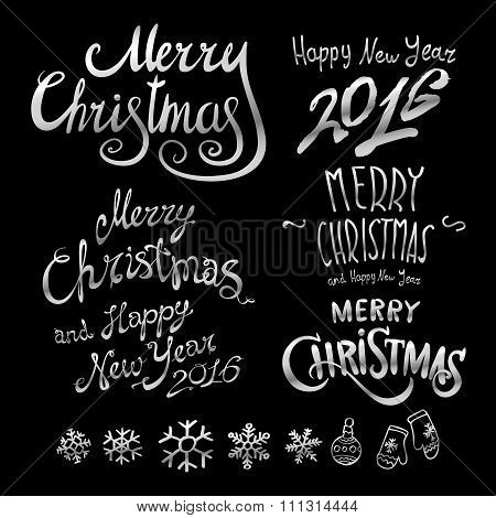 Silver Textured Handwritten Calligraphic Inscription Merry Christmas Inscribed In A Circle. Design E