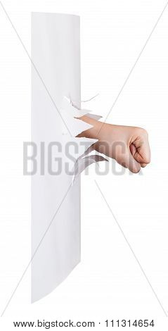 Side View Of The Fist Breaks A Paper Wall Isolated