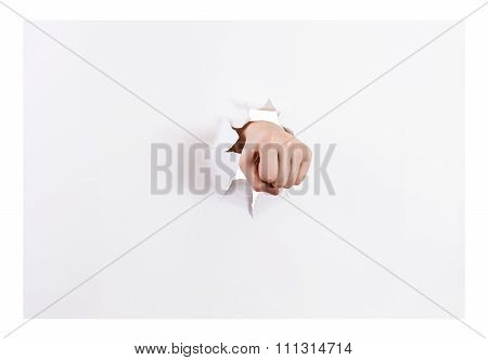 Front View Of The Fist Breaks A Paper Isolated