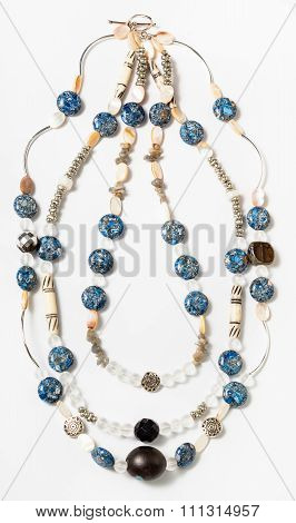Necklace From Bone, Nacre, Artificial Stone Beads
