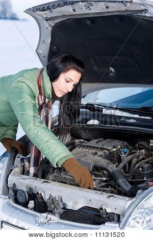 Winter Car Breakdown - Woman Repair Motor