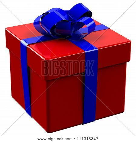 Red Gift Box Tied Blue Ribbon With A Bow