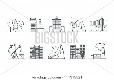 Landscape and Building  icons. Line art. Stock vector.