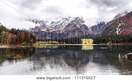 Lago Di Fusine - Mangart Lake In The Autumn Or Winter.