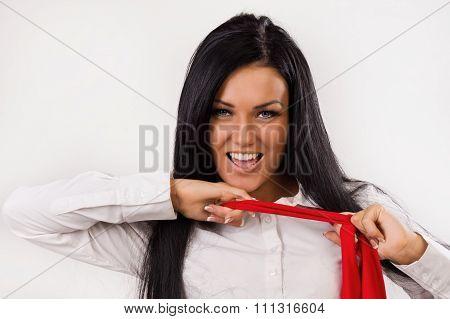Office Girl Remove Red Necktie