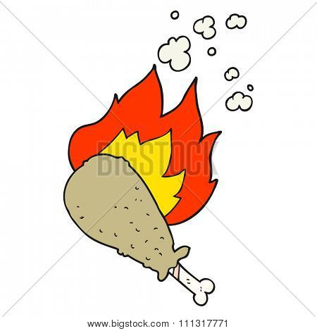 freehand drawn cartoon cooked chicken leg