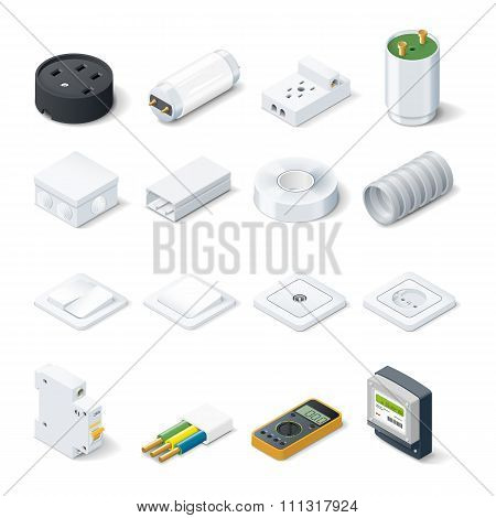 Home Electric Isometric Icon Set