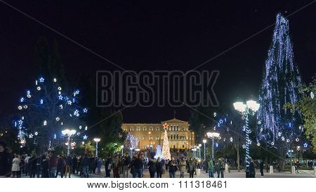 Athens, Greece 2 December 2015. Athens  by night against the stars in front of Parliament of Greece