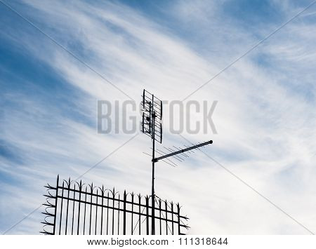One Old Terrestrial Tv Antenna On Roof