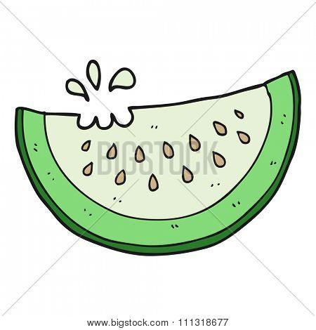 freehand drawn cartoon melon slice