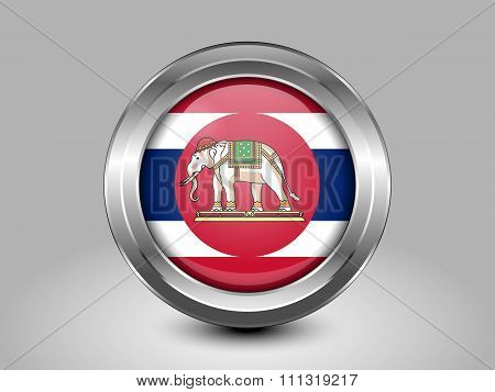 Thailand Variant Flag. Metal Round Icon